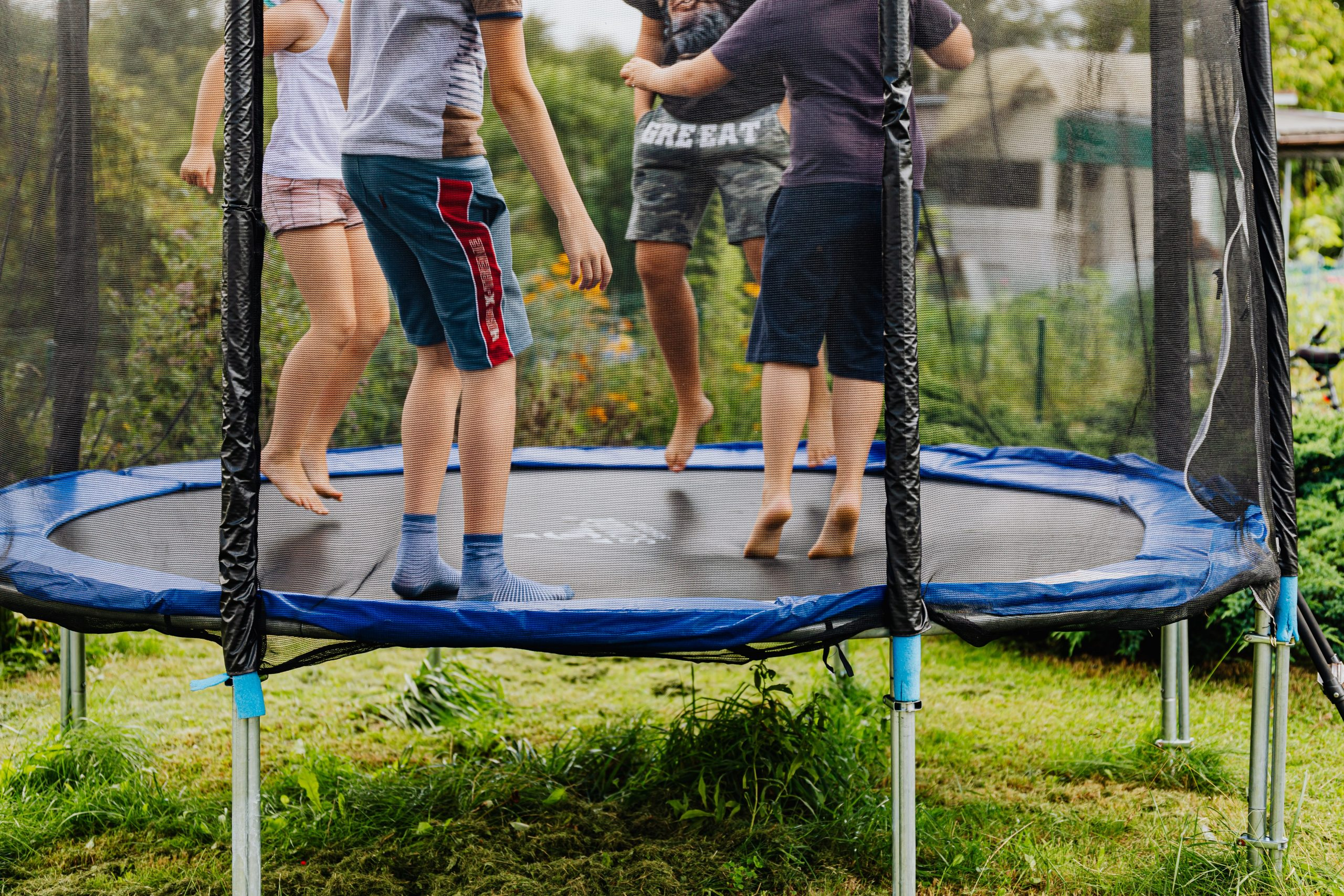 trampoline and artificial grass